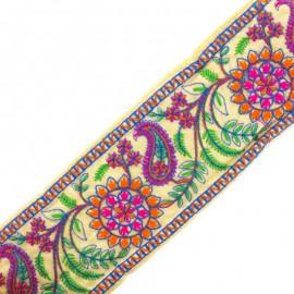 Ruban galon India Sooraj phool - orange/fuchsia x 50cm