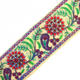 Ruban galon India Sooraj phool - rouge x 50cm