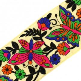 Ruban galon India Papillon 120 mm - multi x 50cm