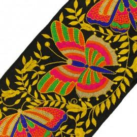 Ruban galon India Papillon 160 mm - noir/ocre x 50cm