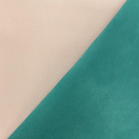 Bicolour thick Suede fabric Alaska - pink/teal x 10cm