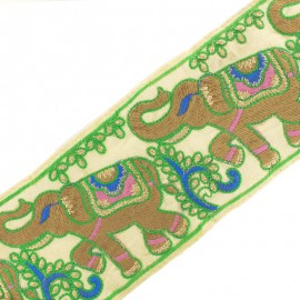 110 mm Elephant India trimming ribbon - ivory x 50cm