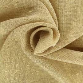 Lurex Sheer Polycotton fabric - natural/gold Basicos x 10cm