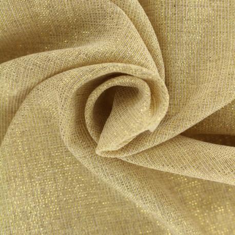 Tissu voile de polycoton  fil lurex or - naturel x 10cm