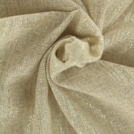 Tissu voile de polycoton Basicos lurex - naturel/argent x 10cm