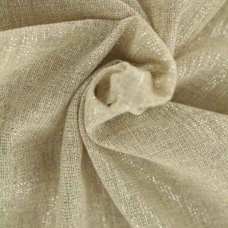 Poly cotton fabric with lurex thread - natural background x 10cm