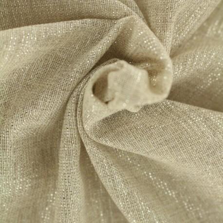 Tissu voile de polycoton  fil lurex argent - naturel x 10cm