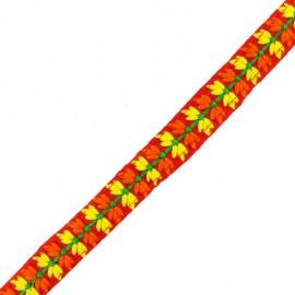 Ruban galon India petite fleur 22 mm - rouge x 50cm