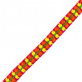 Ruban galon India petite fleur 22 mm - fuchsia x 50cm