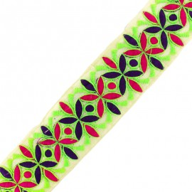 55 mm Chandigarh India trimming ribbon - neon green x 50cm