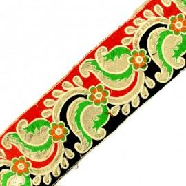 Ruban galon India Ajmer 80 mm - rouge/noir x 50cm