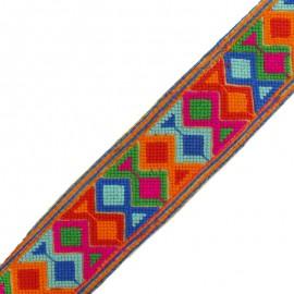 Ruban galon India Géométrique 60 mm - bleu x 50cm