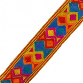60 mm Geometric India trimming ribbon - yellow x 50cm