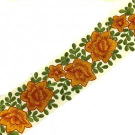Ruban galon India flower power 60 mm - orange x 50cm