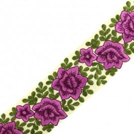 Ruban galon India flower power 60 mm - violet x 50cm