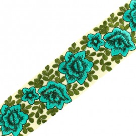 Ruban galon India flower power 60 mm - turquoise x 50cm