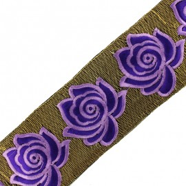 80 mm Rose lurex India trimming ribbon - purple x 50cm