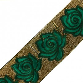 80 mm Rose lurex India trimming ribbon - green x 50cm