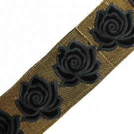 80 mm Rose lurex India trimming ribbon - grey x 50cm