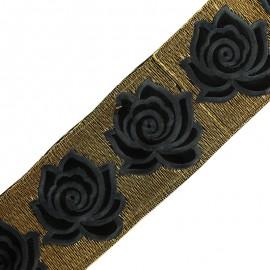 Ruban galon India Rose lurex 80 mm - gris anthracite x 50cm