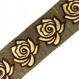Ruban galon India Rose lurex 80 mm - chocolat/écru x 50cm