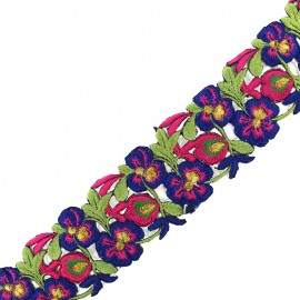 60 mm Pyaar Phool India trimming ribbon - navy/fuchsia x 50cm