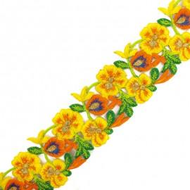Ruban galon India Pyaar Phool 60 mm - jaune/orange x 50cm