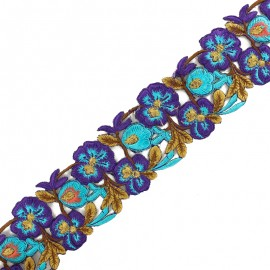Guipure India Pyaar Phool 60 mm - violet/bleu x 50cm
