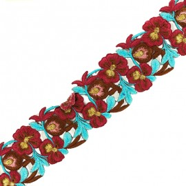 60 mm Pyaar Phool India guipure - burgundy/blue x 50cm