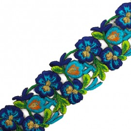 Guipure India Pyaar Phool 60 mm - bleu x 50cm