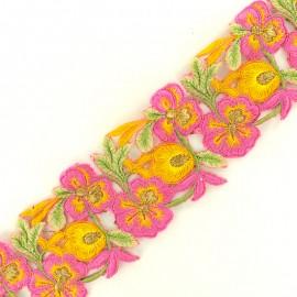 Guipure India Pyaar Phool 60 mm - rose/jaune x 50cm