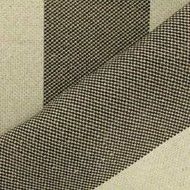 Tissu toile de jute polycoton Larges bandes - noir et naturel x 10cm