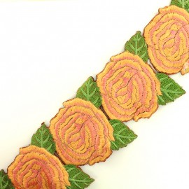 Guipure India Big Rose 80 mm - rose orangé x 50cm