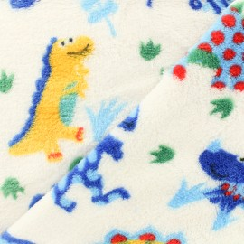 Flanell fleece fabric - dino - white background x 10cm