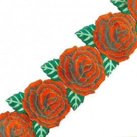 Guipure India Big Rose 80 mm - orange/turquoise x 50cm