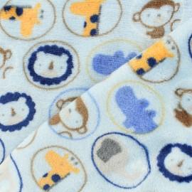 Flanell fleece fabric - les zanimos - light blue background x 10cm