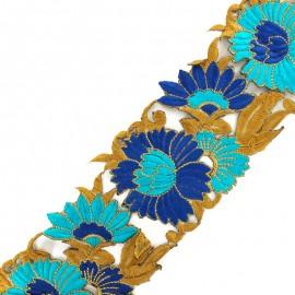 Guipure India Pivoine 80 mm - bleu x 50cm