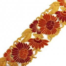 Guipure India Pivoine 80 mm - caramel x 50cm