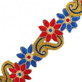 Guipure India Lola 70 mm - bleu/rouge x 50cm