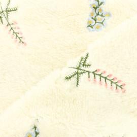 Fourrure mouton brodée fleurs des champs - écru x 10cm