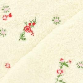 Fleece bestickt embroidered fabric field flowers - ecru x 10cm