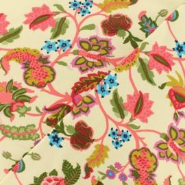 Light sweat pink Rococo foliage fabric - ecru x 10 cm