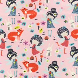 Oeko-Tex tissu jersey Princesse libellule - rose x 10cm