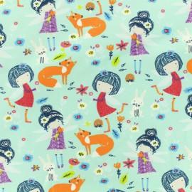 Tissu Oeko-Tex jersey Princesse libellule - turquoise clair  x 10cm