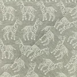 Jersey fabric Zebras - chin grey x 10cm