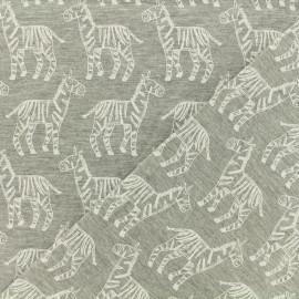 Tissu jersey Zèbres - gris chiné  x 10cm