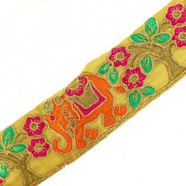 70 mm Flower & elephant India trimming ribbon - orange/gold x 50cm