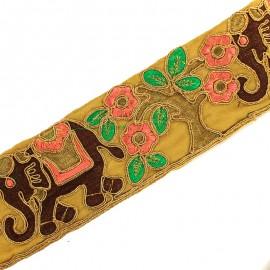 Galon India Fleur & Eléphant 70 mm - chocolat/doré x 50cm