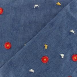 Tissu jeans fluide fleurs brodées - aqua indigo x 10cm