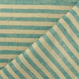 Linen Stripes cloth fabric - jade/taupe x 10cm